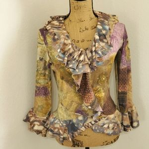 🆕️ALBERTO MAKALI•Abstract collaged ruffle top•Med